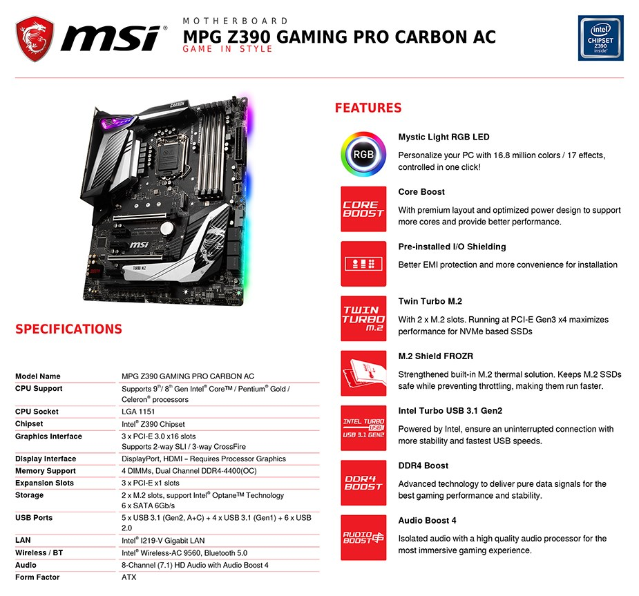 MSI MPG Z390 GAMING PRO CARBON AC LGA 1151 ATX Motherboard - Desktop Overview 2