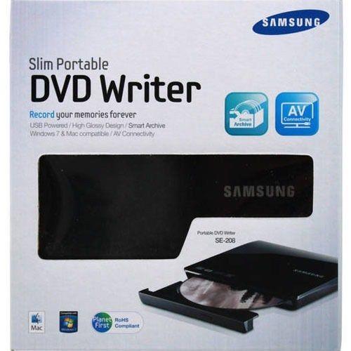 White external dvd writer usb 2. 0 pc/mac, samsung se-208ab/tsws.